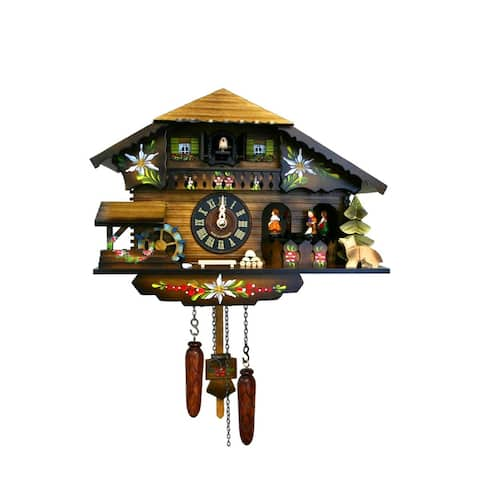 """10.5"""" Brown, Black, and Green Engstler Contemporary Full Size Cuckoo Clock"""