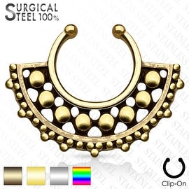 316L Surgical Steel Fake Septum Hanger Beaded Center Large Fan (Sold Ind.)