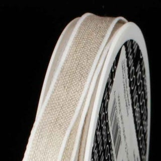 """Natural Tan and White Linen Wired Craft Ribbon 3/8"""" x 44 Yards"""