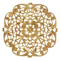 Vintaj Vogue Embellishments, Peony Filigree 46mm, 1 Piece, Raw Brass