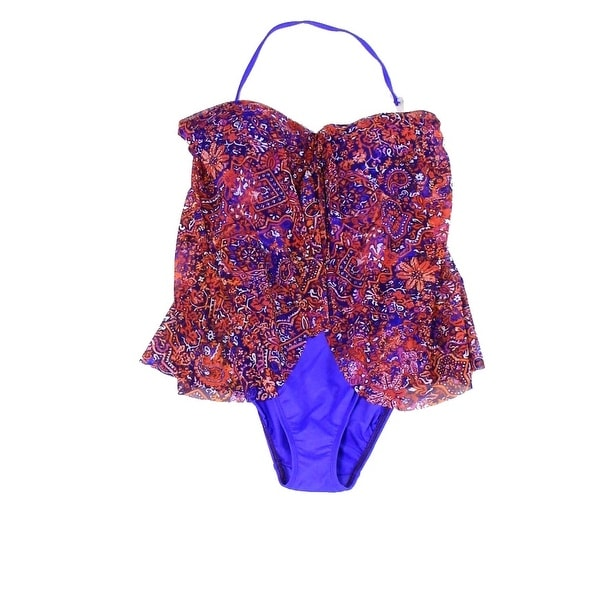 ... Swimwear; /; One-piece Swimwear. Lauren By Ralph Lauren NEW Purple  Women\u0026#x27;s 10 Floral Chiffon ...