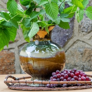 "Link to Claybarn Patina Metallic Ombre Stoneware 12"" Verde Globular Vase Similar Items in Decorative Accessories"