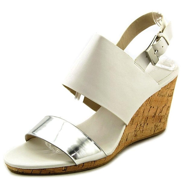 Calvin Klein Womens BIBBI Open Toe Ankle Strap Wedge Pumps
