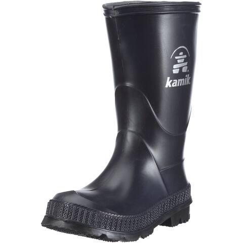 Kids Kamik Boys Stomp Leather Knee High Pull On Rain Boots