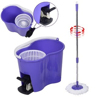 Costway Microfiber Spinning Mop Easy Floor Mop W/Bucket 2 Heads 360 Rotating Head Purple