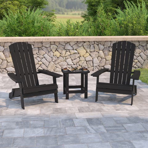 Set of 2 Indoor/Outdoor Folding Adirondack Chairs with Side Table