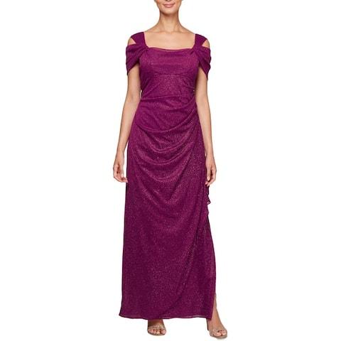Alex Evenings Womens Evening Dress Glitter Cold Shoulder