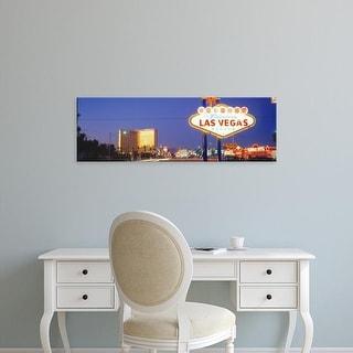 Easy Art Prints Panoramic Images's 'Las Vegas Sign, Las Vegas Nevada, USA' Premium Canvas Art