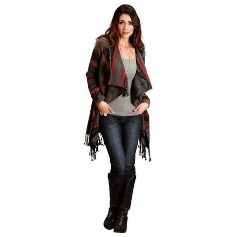 Stetson Western Sweater Womens Fringe L/S Cardigan - S