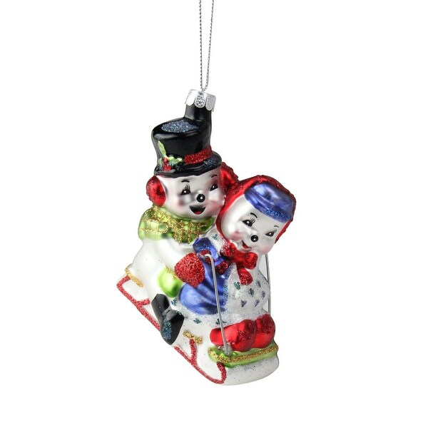 "4.5"" Festive Cheerful Sledding Snowmen Couple Glass Christmas Ornament - WHITE"