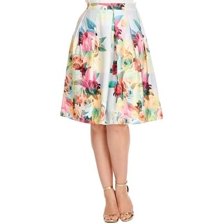 City Chic Womens Plus A-Line Skirt Floral Print Pleated
