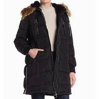 Steve Madden Deep Black  Women's Size Medium M Faux Fur Coat