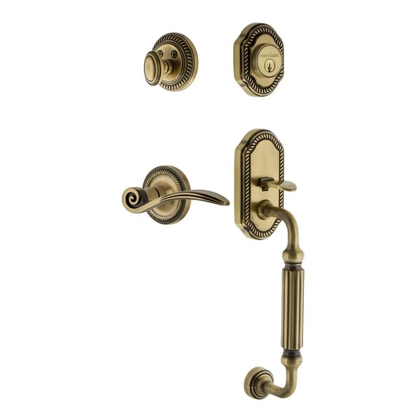 Nostalgic Warehouse ROPSWN_ESET_234_FG_LH Rope Left Handed Sectional Single Cylinder Keyed Entry Handleset with F Grip and Swan