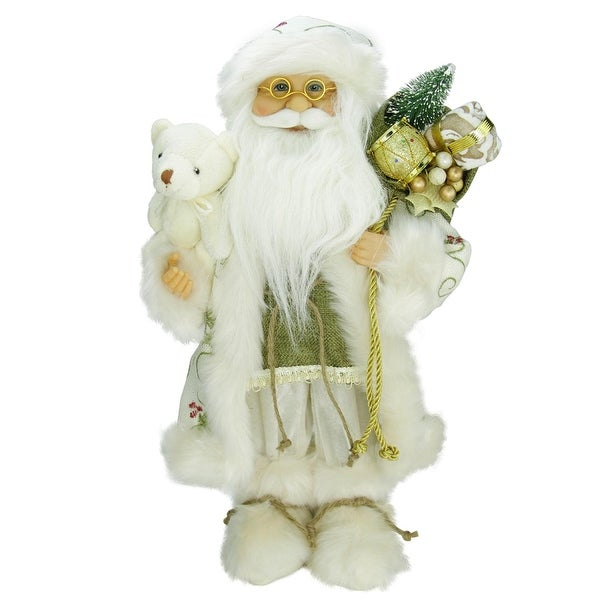 "16"" Graceful Standing Santa Claus Christmas Figure in Ivory with Teddy Bear"
