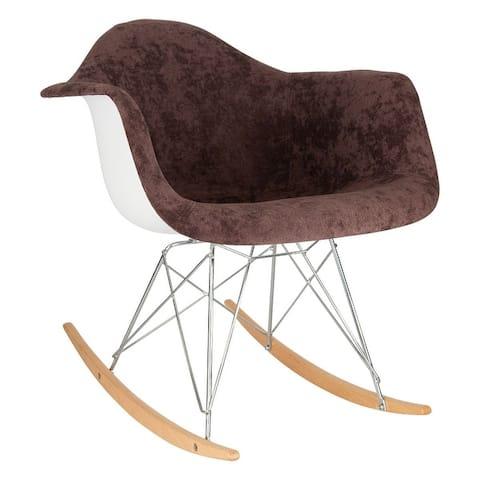 LeisureMod Wilson Modern Velvet Rocking Chair With Eiffel Base