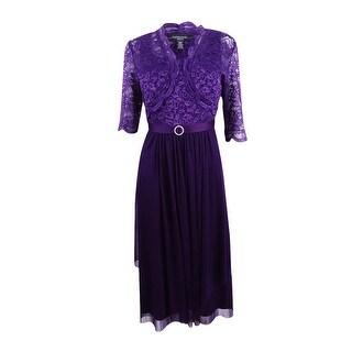 R&M Richards Women's Petite Belted Glitter Lace Dress and Jacket - 12P (Option: Purple)