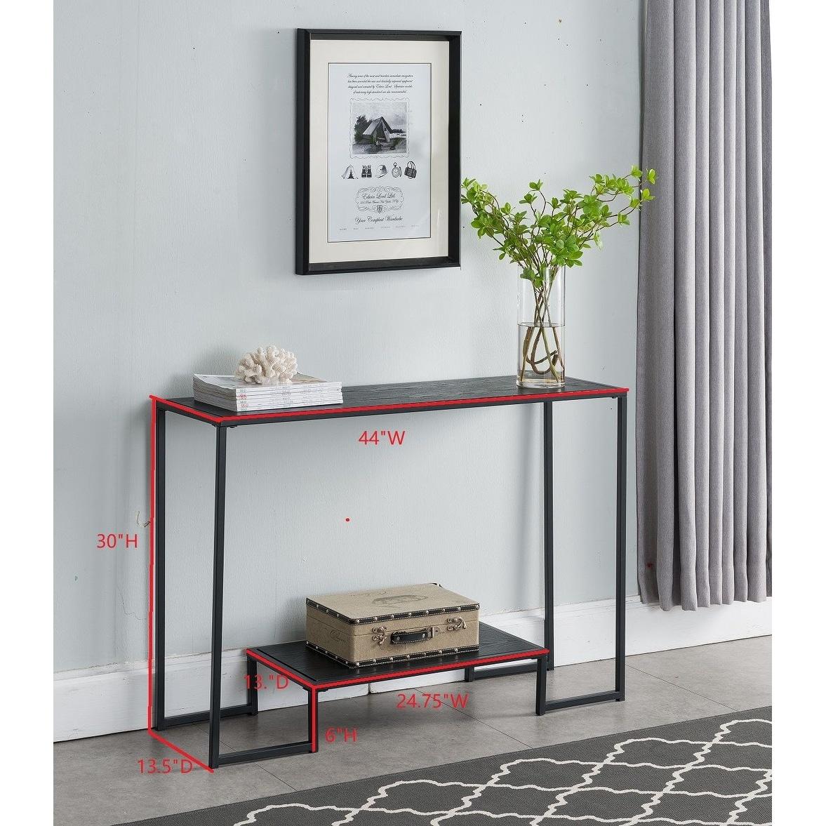 Porch Den Rosa Black Metal Console Table Overstock 28368899