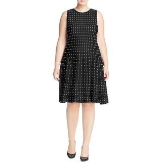 Nic+Zoe Womens Plus Stardust Wear to Work Dress Embroidered Sleeveless