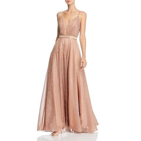 Aqua Womens Evening Dress Metallic Embellished - Rose