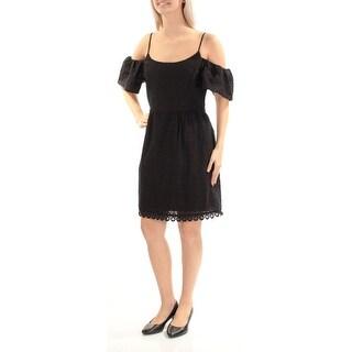 Womens Black Spaghetti Strap Mini Sheath Formal Dress Size: S