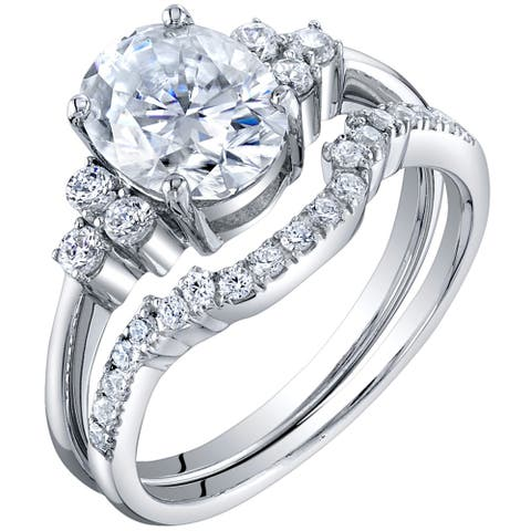 2 Carat Moissanite Oval Engagement Ring Wedding Band Bridal Set in Sterling Silver