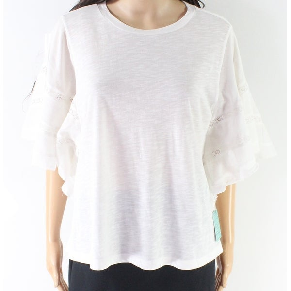 73a89aebcddab Shop Susina White Women s Size Large L Lace Trim Ruffle Sleeve Blouse -  Free Shipping On Orders Over  45 - Overstock - 27756551