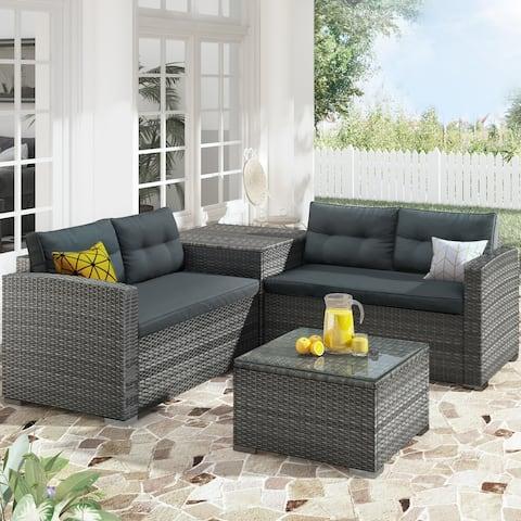 Presale Outdoor Furniture Sofa Set with 2 Sofa& 1 Table& 1 Storage Box