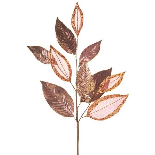 "Pack of 12 Artificial Metallic Bronze Laurel Leaf Christmas Sprays 33"""