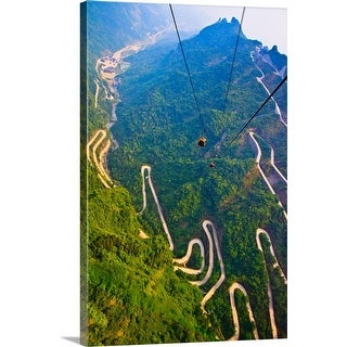 """""""View of mountains and winding road in Mount Tianmen, National Forest Park"""" Canvas Wall Art"""