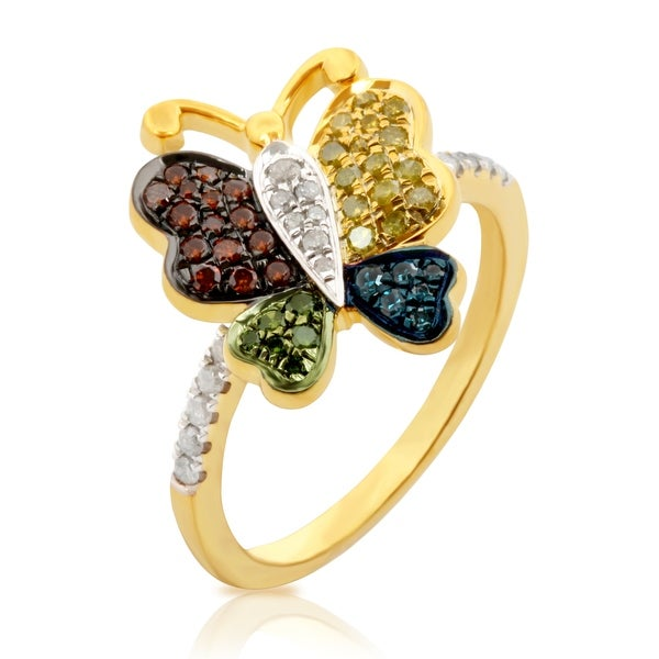 Prism Jewel 0.36 Carat Multi Color Diamond Butterfly Ring - White G-H