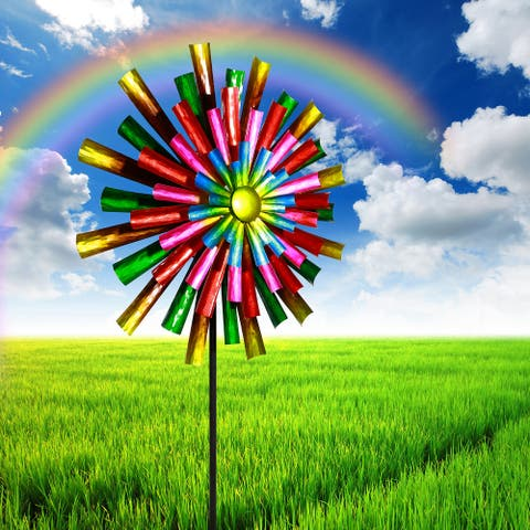 Alpine 81-Inch Outdoor Colorful Flower Wind Spinner Stake, Multicolor