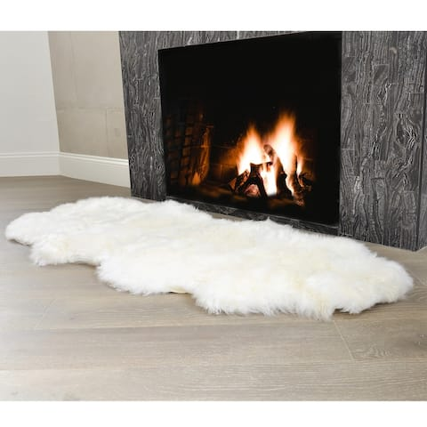 Sheepskin Area Rug Natural Fur Seat Cover Bedside Carpet with Comb 5 Ft - 3' x 5' Oval