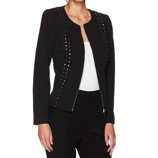 Calvin Klein Black Women Size 4 Zip-Front Studded Motorcycle Jacket