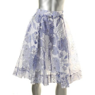French Connection Womens Sheer Floral Print Pleated Skirt