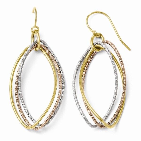 Italian 10k Tri-Color Gold Shepherd Hook Dangle Earrings