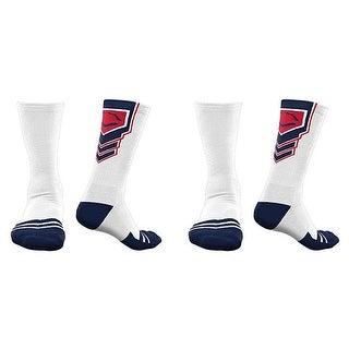EvoShield Performance Crew Socks (White w/ Navy Blue & Red / Medium / 2 Pair)