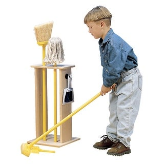 Childcraft Housecleaning Stand with 5 Tools, 11-1/2 x 11-1/2 x 23-1/4 Inches