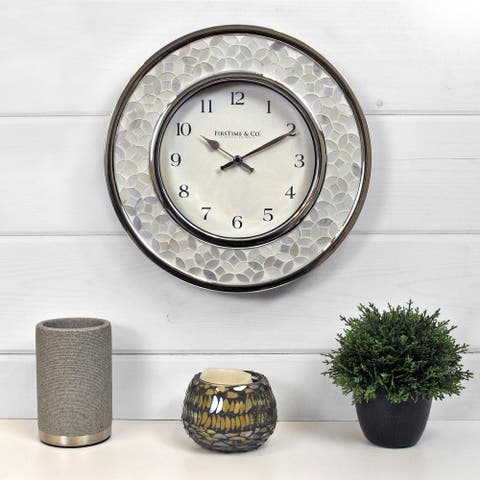 FirsTime & Co.® Arabesque Mosaic Wall Clock, American Crafted, White, Plastic, 10.25 x 2 x 10.25 in - 10.25 x 2 x 10.25 in