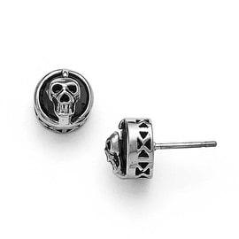 Chisel Stainless Steel Polished Black Crystal Skull Post Earrings