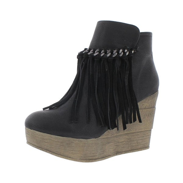 Madden Girl by Steve Madden Womens Karlina Wedge Boots Leather Fringe - 10 medium (b,m)
