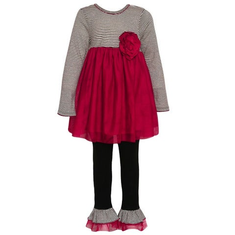 Bonnie Jean Little Girls Red Black Stripe Floral Detail Legging Outfit
