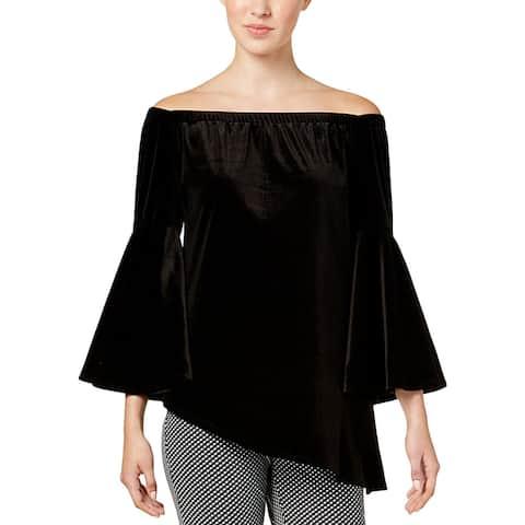 NY Collection Womens Dress Top Velvet Asymmetric