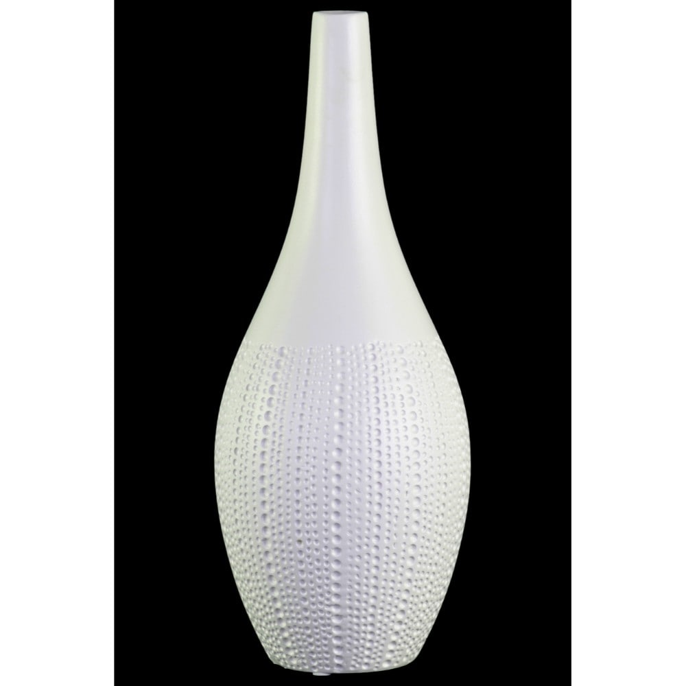 Ceramic Bellied Vase With Smooth Banded Top Rim, Large, White