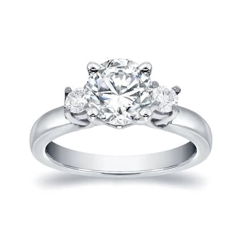 Auriya 14k Gold 1ct Moissanite and Diamond 3-Stone Engagement Ring 2/5ctw