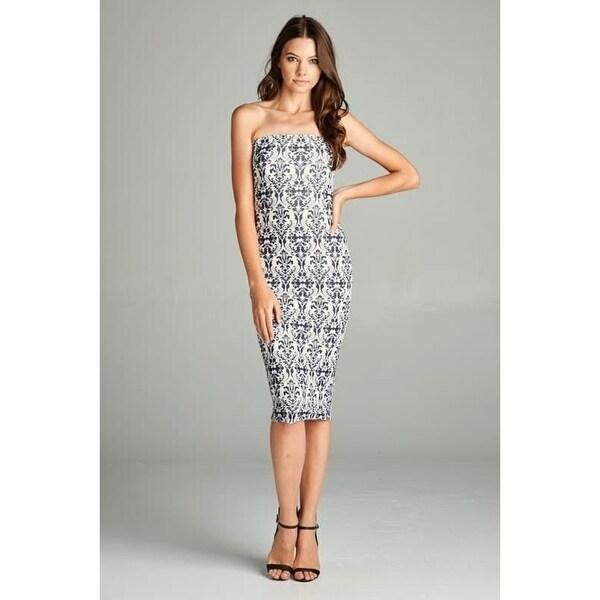 501d22181733b Shop Baroque Elegance Strapless Bodycon Mini Tube Dress - ivory ...