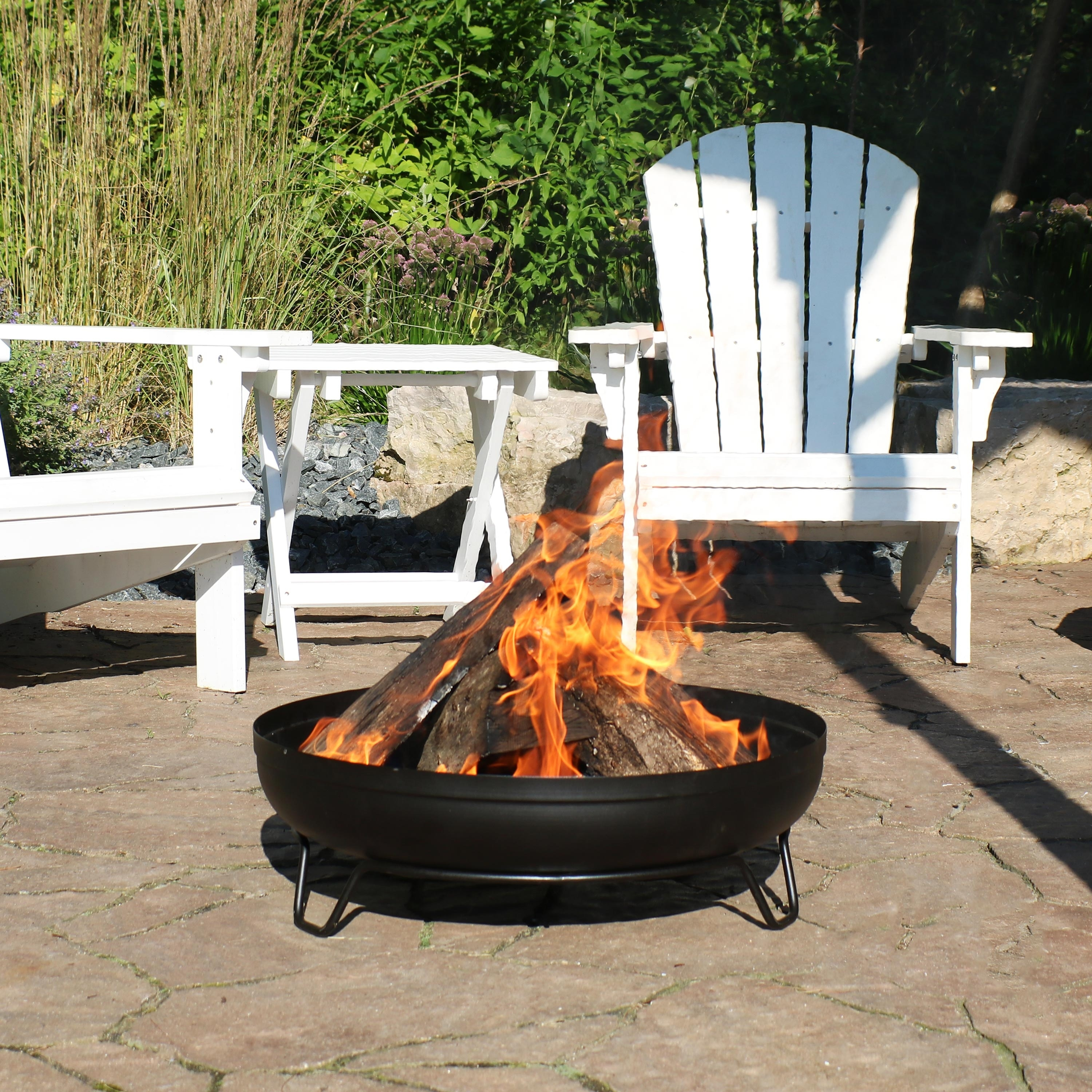 Sunnydaze Black Steel Outdoor Wood Burning Fire Pit Bowl With