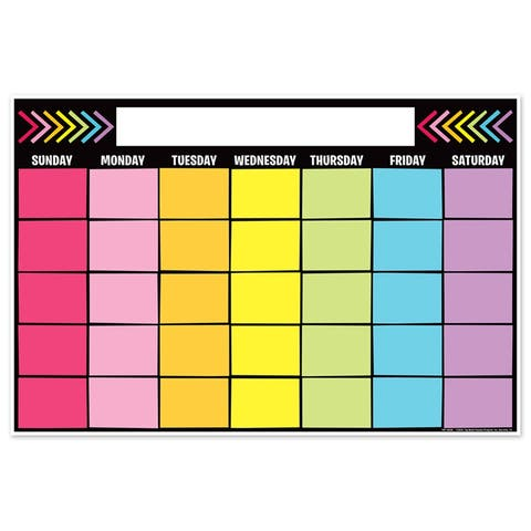 "Magnetic Write & Wipe Calendar Neon Black, 12"" x 18"" - One Size"