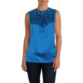 Elie Tahari Womens Betsy Blouse Silk Jeweled