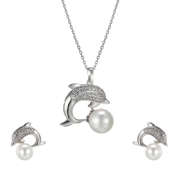 Dolphin Pearl Pendant Earrings Stainless Steel Link Chain Women Gift Set Charm
