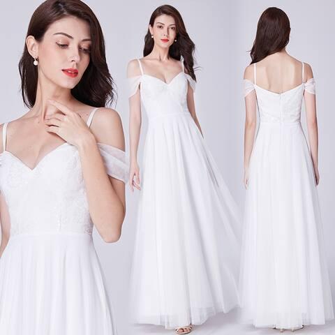 525355eddc Ever-Pretty Women's Off Shoulder White Lace Wedding Dress Bridal Gown 07519